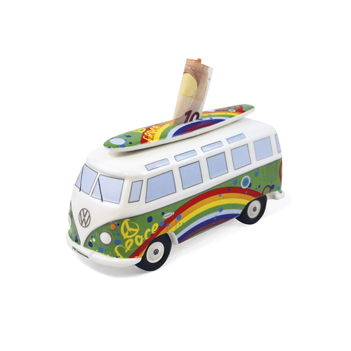 VW T1 BUS SPARDOSE MIT SURFBRETT- PEACE