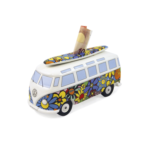 VW T1 BUS SPARDOSE MIT SURFBRETT- FLOWER POWER